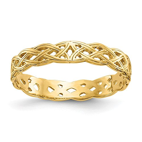(JewelrySuperMartCollection 14k Yellow Gold Polished Celtic Knot Band (3mm Width) - Size 9)