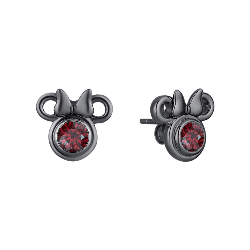 Dazzling Mickey Mouse Stud Earrings 18k Black Gold Over .925 Sterling Silver Gemstones Stud For Girls