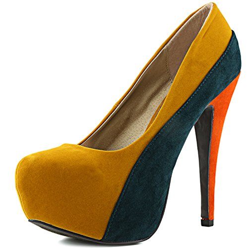 Qupid Women's Penelope-44x Mustard Yellow Velvet Platform Shoes, 8.5 - Stiletto Classic Pump