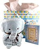 Baby Boy Baptism Christening 4 Item Gift Set Includes Blue Elephant Blankie with Jesus Loves Me, Baby's First Bible with Gift Bag and Tissue Paper (Blue)