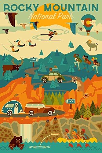 Rocky Mountain National Park, Colorado - Geometric (9x12 Art Print, Wall Decor Travel (Rocky Mountain Paper)