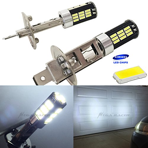 Crystal Hyper White Bulbs - Mega Racer H1 Bright Chip LED 42-SMD Canbus Hyper White 6000K Headlight Light Bulb (Low Beam) - 12V Stock OEM Xenon Lamp