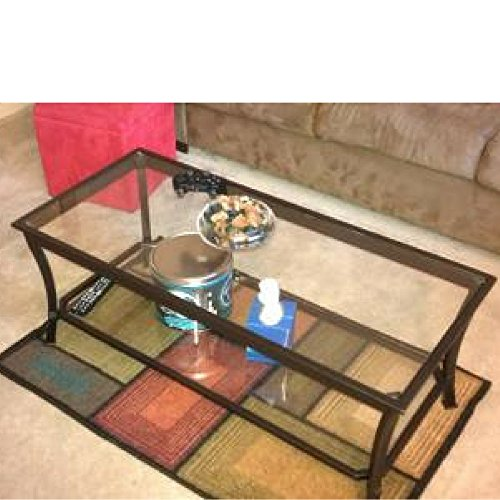 Cheap Glass Top Display Coffee Table Living Room Decor Minimal Rectangular Metal Frame Centerpiece Furniture & E book By Easy2Find