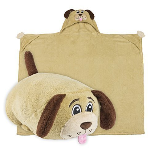 Price comparison product image Comfy Critters Kids Huggable Hooded Blanket - Dog - The Perfect Playmate For Your Child - Snuggle Up In A Plush Hoodie Blanket or Transform It Into An Animal Shaped Pillow