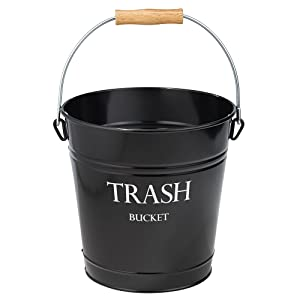 iDesign Pail Metal Wastebasket Trash Garbage Can for Bathroom, Bedroom, Home Office, Kitchen, Patio, Dorm, College, Set of 1, Black