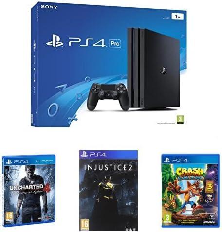PS4 Pro 1 TB + Uncharted 4 + Injustice 2 + Crash: Amazon.es ...