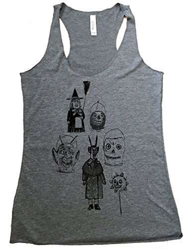 Friendly Oak Women's Halloween Ghoul Collection Tank Top - S - Heather Grey (Top Horror Films For Halloween)