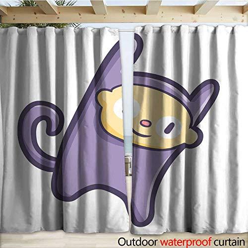 (warmfamily Outdoor Blackout Curtain Purple Monkey Smiling Drapery W108 x)
