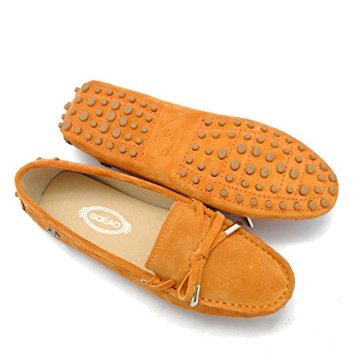 Casual Suede Flats Women's Meijili Work Loafer Peas Leather Driving Moccasin Shoes Orange 84ww5qH