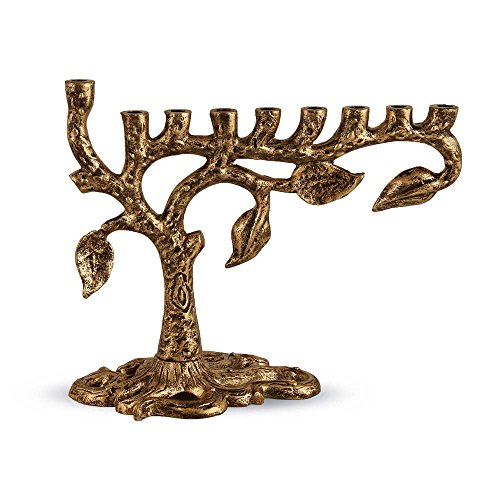 Zion Judaica Artistic Menorah Tree of Life (Antique Gold) by Zion Judaica Ltd