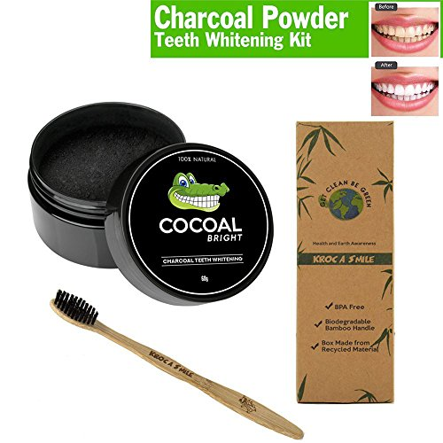 Price comparison product image Activated Charcoal Teeth Whitening Charcoal Powder with Toothbrush BPA Free Bristles