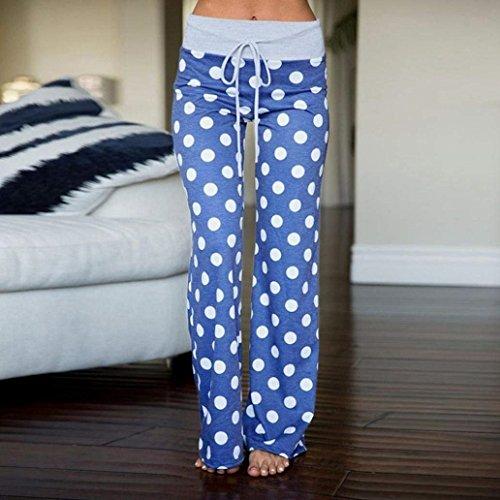 Droit Femme Partie Été Taille En Confortable Long Cordon De Jeune Large Mi La Élastische Élégant Baggy Pointillé Mode Girl Pantalon Style wawqSgC