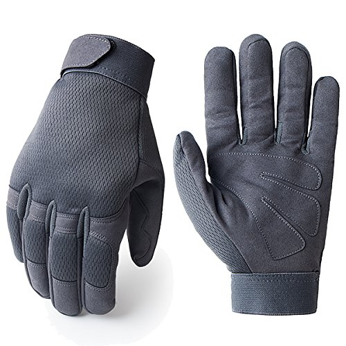 JIUSY Tactical Full Finger Gloves for Cycling Motorcycle Motocross Riding Driving ATV Bike Hunting Hiking Airsoft Paintball Shooting Mechanic Work Size Large Gray