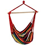 Sunnydaze Hanging Rope Hammock Chair Swing, Jumbo Extra Large Seat, Indoor or Outdoor Use, Sunset