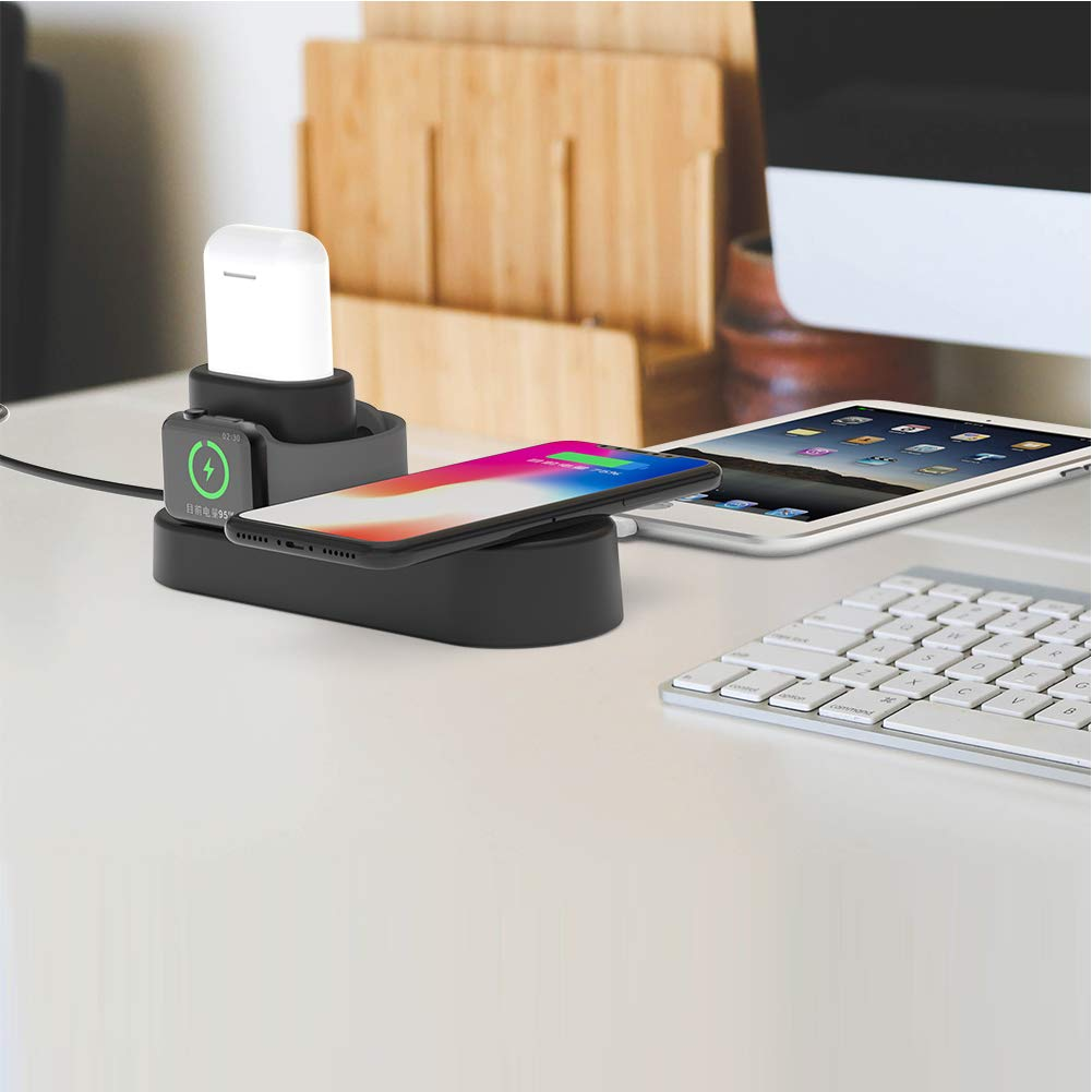 FACEVER 36W 3 in 1 Wireless Charger Station with USB Output, Fast Qi Wireless Charger Compatible with Apple Watch iWatch Airpods iPhone Xs MAX XR X 8 Plus, Samsung S9 S8+, Qi-Enabled Devices -Black by FACEVER (Image #7)