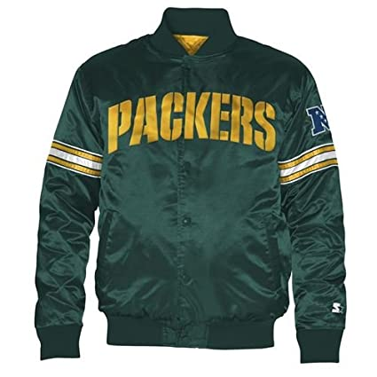 save off 124ee bf209 Amazon.com : STARTER Green Bay Packers Youth Satin Jacket ...