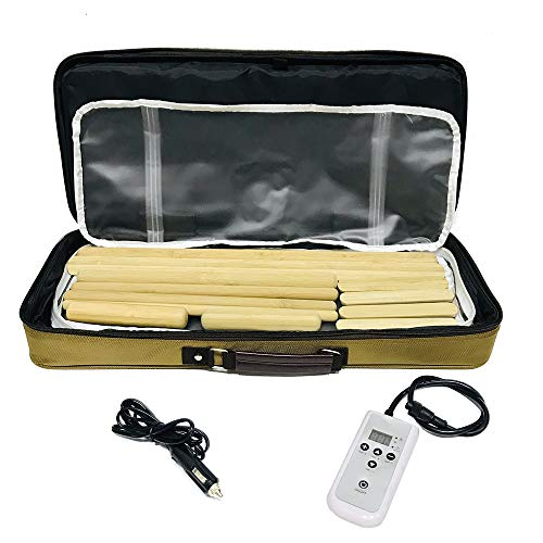 Goodtar Electric Hot Stone Heater Warmer Professional Portable Bamboo Massage Digital Heating Kit Comes with 12 Bamboo Massage Sticks and a Heating Bag