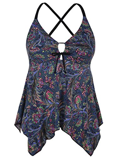 Mycoco Women's Tummy Control Front Tie Swim Top Cross Back Tankini Top Flowy Swimdress Black Leaves 20 (Hot Pink Tankini)