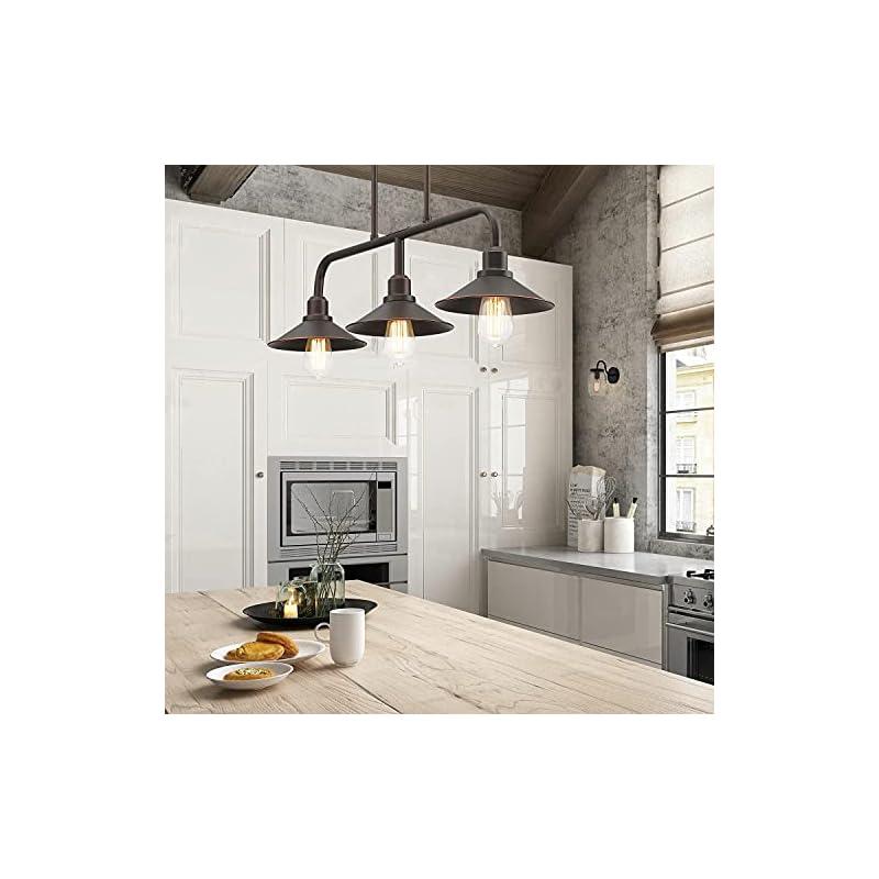 MOTINI 3-Light Pendant Lighting for Kitchen Island, Oil Rubbed Bronze Linear Chandelier, Industrial Metal Modern…