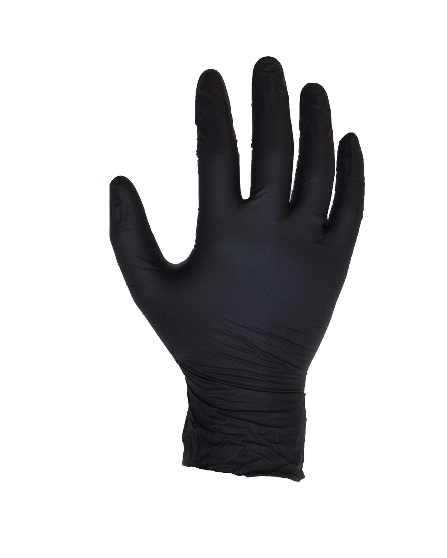 100個入りブラックニトリル手袋 - サイズS - ASPRO - パウダーフリー - 使い捨て - ラテックスフリー - AQL 1.5(サイズS - 小、黒) B07FK3XH8C