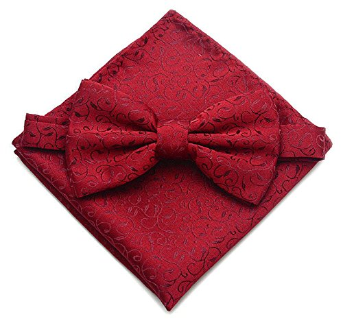 Secdtie Mens Red Scroll Pre-tied Bow Tie Set Pocket Square Floral Formal Cravat (Red Floral Scroll)