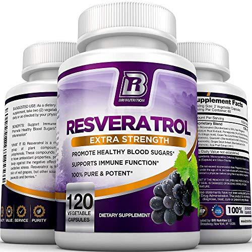51wD%2BDYSHzL - BRI Resveratrol - 1200mg Maximum Strength Natural Antioxidant Supplement for Longevity Premium, Ultra Pure Veggie Caps Promote Healthy Heart and Brain Function and Immune System Health (120 Capsules)