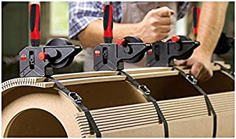 Black with red Handle 23 Bessey VAS-23+2K Variable Angle Strap Clamp with 4 Clips