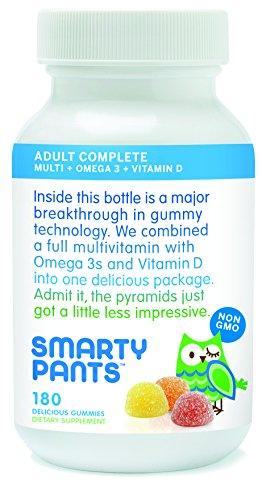 SmartyPants vitaminas multivitaminas de goma adulto Plus Omega 3 Plus vitamina D 180 gomitas (suministro para 30 días)