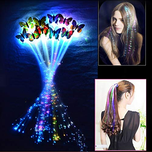 Himpokejg Kid Toy,LED Flashing Light Butterfly Hair Clip Braid Optical Fiber Hairpin Party Decor- Random Color