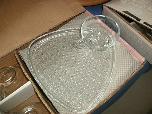 Glass Jeanette Patterns - Jeanette Glass Antique Crystal Daisy & Button Snack Set in Original Box
