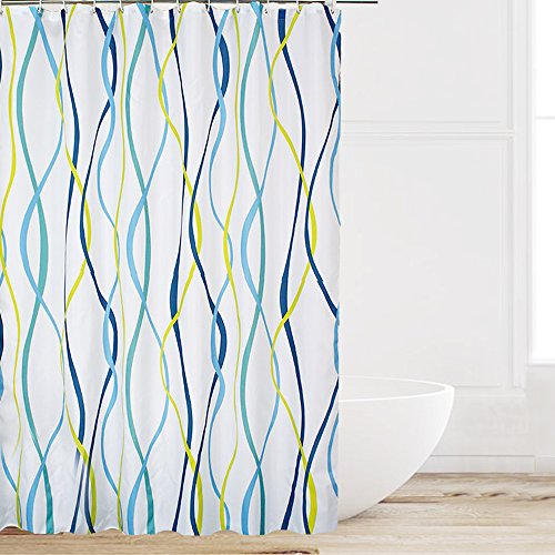 Eforcurtain Home Fashion Blue/Yellow Sea Wave Stripes on White Bath Curtains Water Repellent Mold Resistant, Durable Polyester Shower Curtain with Free Rings, Standard Size 72 by 72-Inch -