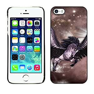 Qstar Arte & diseño plástico duro Fundas Cover Cubre Hard Case Cover para Apple iPhone 5 / iPhone 5S ( Pegasus Stars Horse Wings Flying Mystical)