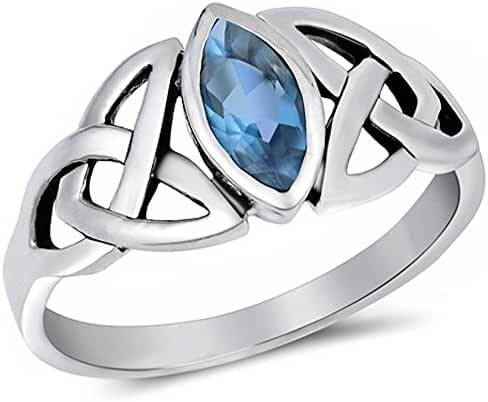 Simulated Aquamarine .925 Sterling Silver Ring Sizes 4-11
