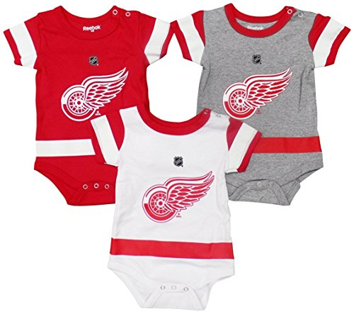 Detroit Red Wings Baby / Infant Hockey Jersey Style 3 Piece Creeper Set 6-9 Months