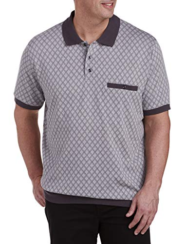 - Harbor Bay by DXL Big and Tall Diamond Banded Bottom Polo Shirt, Grey, 3XL