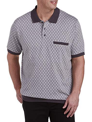 Harbor Bay by DXL Big and Tall Diamond Banded Bottom Polo Shirt, Grey, 3XL