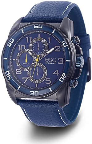 ESQ Mens Sports Quartz Stainless Steel and Leather Casual Watch