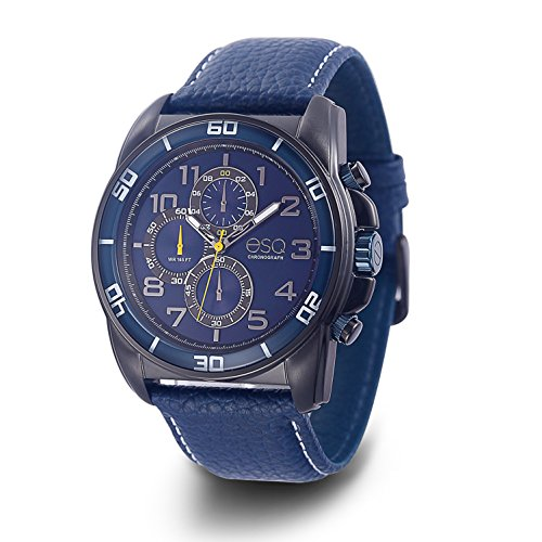 ESQ Men's 'Sport' Quartz Stainless Steel and Leather Casual Watch, Color:Blue (Model: 37ESQE21201A) - Esq Quartz Watch