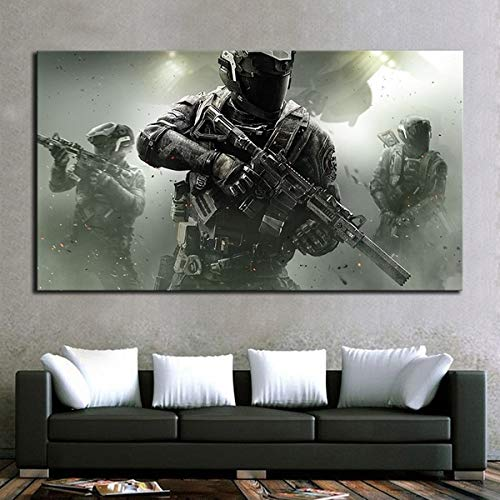 1 Piece Video Game Call of Duty Soldier Poster Pictures for Wall No Framed Canvas Art Wall Painting for Home Decor (12x18inch)