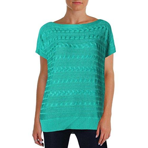 Lauren Ralph Lauren Cable Knit Short-Sleeve Sweater (L, Tropic Turquoise)