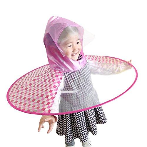 AutumnFall Children Raincoat,Foldable Rain Coat UFO Shape Umbrella Hat Magical Free Hands Plaid Raincoat for Unisex Children Kids (S, Red)