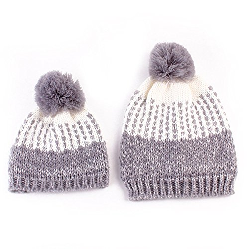 [2Pcs (Gray Color) Mother &Child Baby Boy Girl a Warm Winter Knit Beanie Pom Hat Crochet Ski Cap] (Halloween Costumes 36 Months)