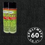 "Polymat 2 Cans 12oz ea 777 Glue+ 16 ft x 45"" W Black Speaker Box 16ft Carpet Truck Car Trunk Liner, Dash Cover, Interior Headliner Carpet / Home Wall Decor"