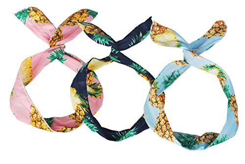 OLLIE ARNES Women's Cute Trendy Elastic Headband Various Style Bandana BPINE_BLU-NAV-PNK OS