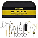 XFISHMAN Fly Tying Tool Kit 11 in 1 with Bobbin Finisher Scissors Hackle Hair Stacker Fly Fishing Tying Tools Set