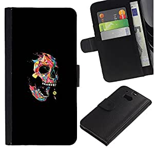 MobileX / HTC One M8 / Colorful Polygon Skull - Pop Art / Cuero PU Delgado caso Billetera cubierta Shell Armor Funda Case Cover Wallet Credit Card