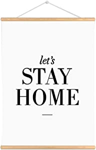 Purple Verbena Art Let's Stay Home Words Sign Quotes on Canvas Print Wooden Scroll Poster Painting Wall Art Ready to Hang for House Living Room, 42x30cm