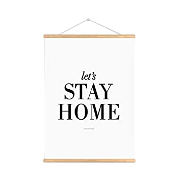 Purple Verbena Art Let\'s Stay Home Words Sign Quotes on Canvas Print Wooden  Scroll Poster Painting Wall Art Ready to Hang for House Living Room, ...