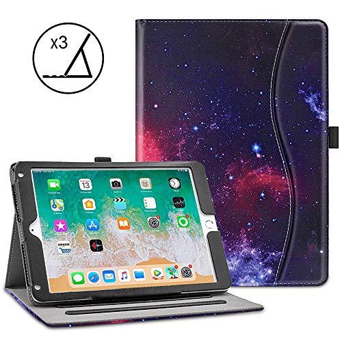 VORI iPad 9.7 Case (2018 6th Generation/2017 5th Gen/iPad Air 2 / iPad Air), Soft Leather Smart Cover Folio Multi-Angle Viewing Case with w/Pocket, Auto Wake/Sleep for New Apple iPad 9.7 inch, Nebula ()