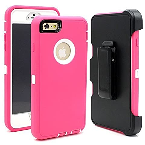 Hybrid Rubber Plastic Impact Defender Rugged Hard Case ,iPhone 6Plus /6S Plus 5.5 inch Protective Case, Screen Protector Built-in ,With Belt Clip Holster,Pink/White